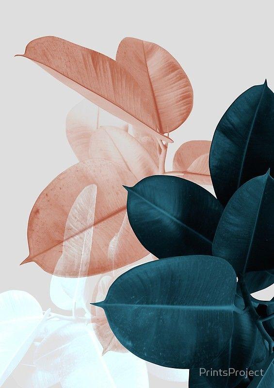 'Blush Pink Plant Leaves, Botanical Leaf' Framed Print by PrintsProject