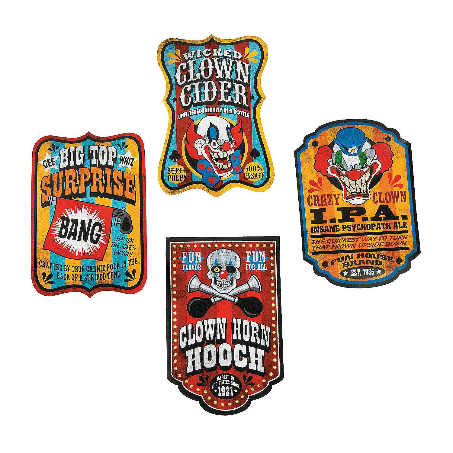 Big Top Terror Bottles Labels, Bottle Labels, Invitations & Stationery, Party Supplies - Oriental Trading