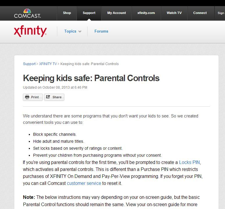 Xfinity internet parental controls