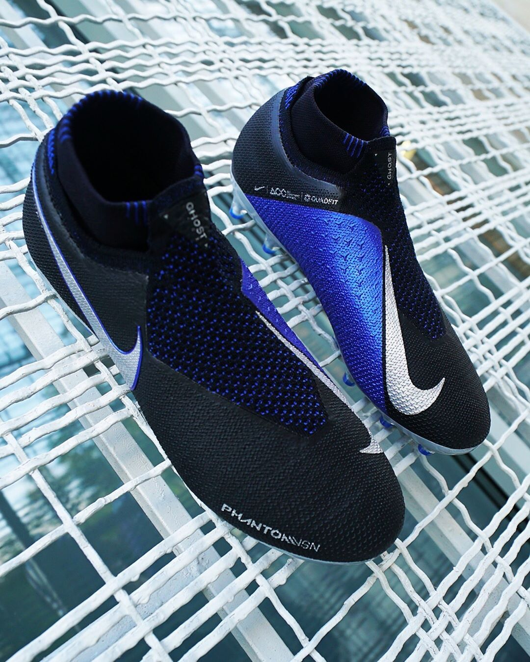Botas de fútbol con tobillera Nike Phantom Vision Elite - negras y azules  Las  PhantomVsn cbdf49727
