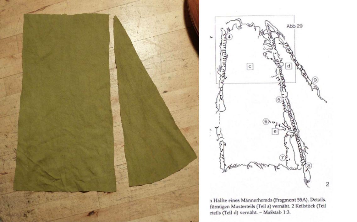 Tom Jersøs eksperiment med at rekonstruerer en kofte fra Hedebyfragmenter.  Her er en del af underdelen.