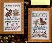 Cottontails in the flower garden from Just Cross stitch march 2013
