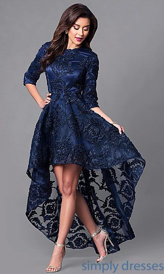 High Low Lace Dress With 3 4 Length Sleeves High Low Lace Dress Formal Dresses With Sleeves High Low Prom Dresses,Casual Plus Size Wedding Dresses With Color