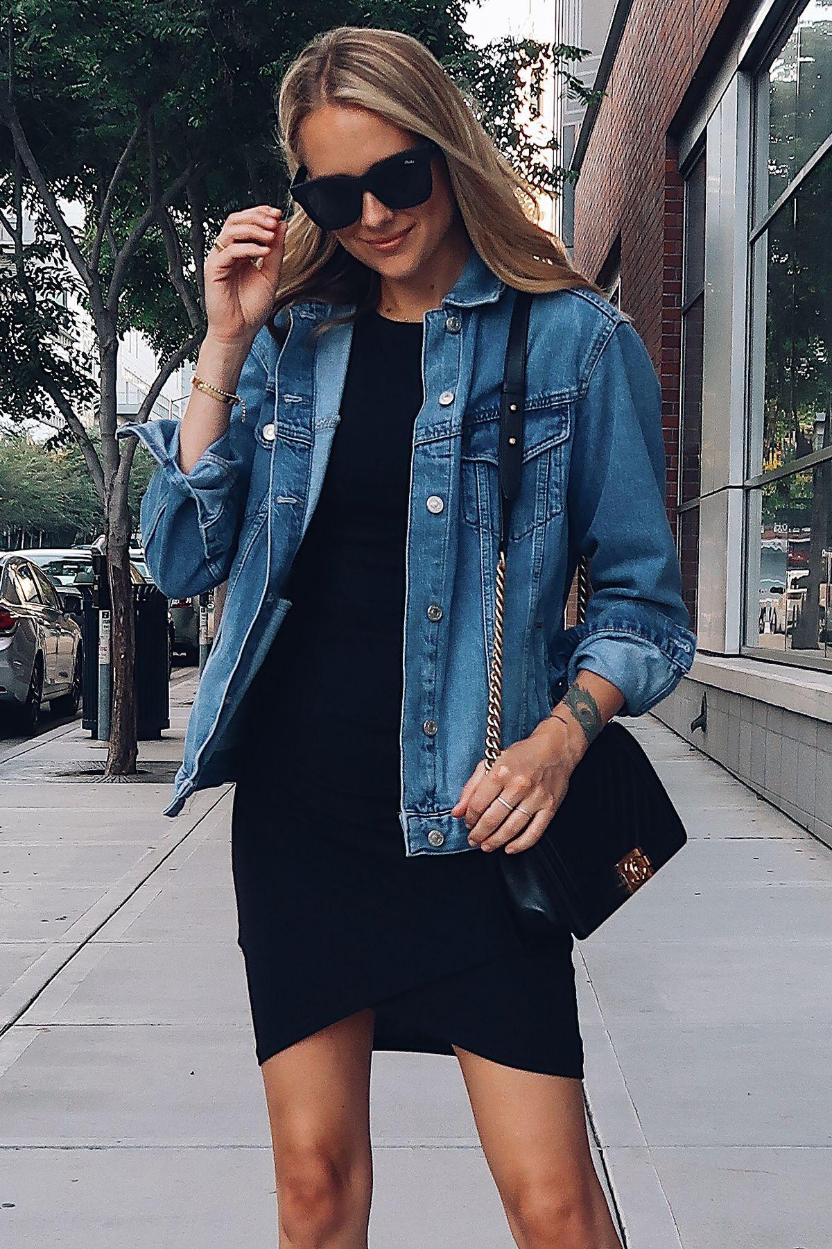 Blonde Woman Wearing Topshop Oversized Denim Jacket Black Wrap Dress Chanel Black Boy Bag Fashion Jackson San Diego F Denim Jacket Denim Outfit Fashion Jackson [ 1800 x 1200 Pixel ]