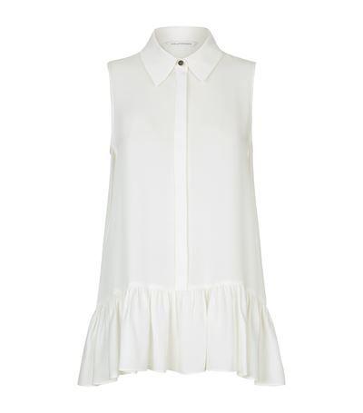 DIANE VON FURSTENBERG Lanzi Sleeveless Collar Blouse. #dianevonfurstenberg #cloth #
