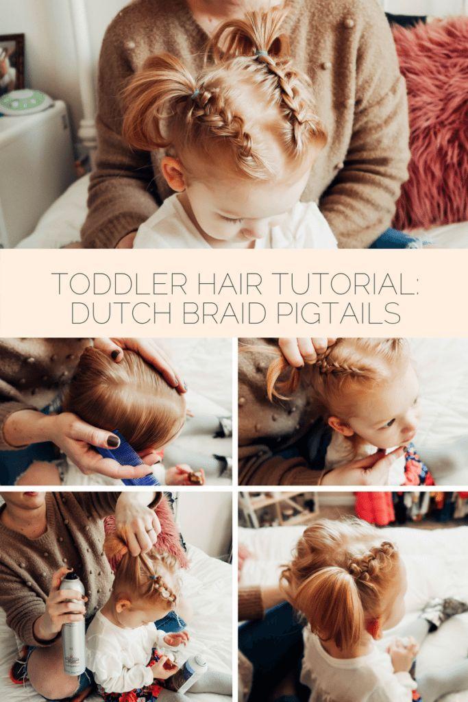 Toddler Dutch Braid Pigtail Tutorial | Easy toddler hairstyles ...