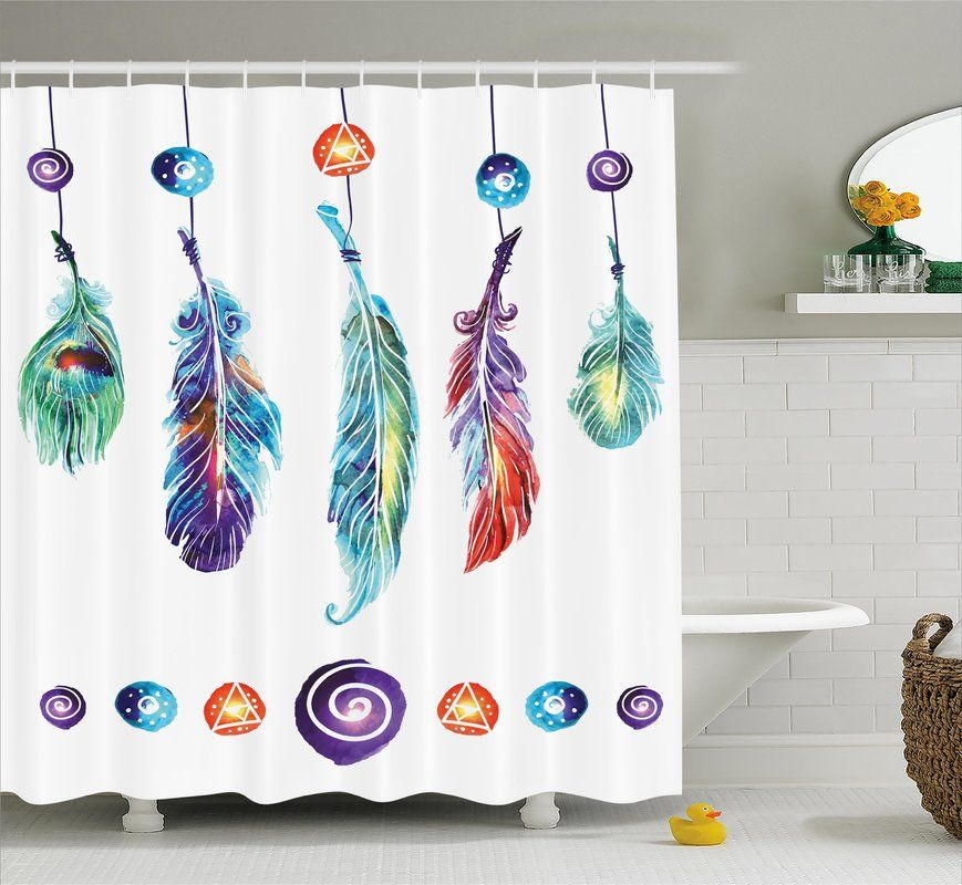 Indian Feather Single Shower Curtain Vinyl Shower Curtains