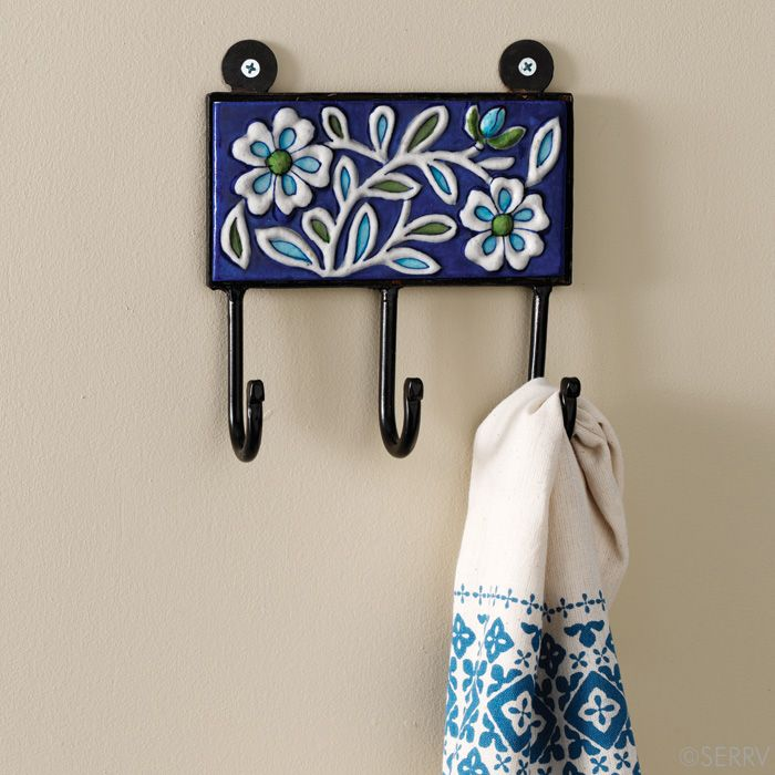 Jaipur Floral Wall Hooks Blue Pottery Exclusively Made In The Jaipur