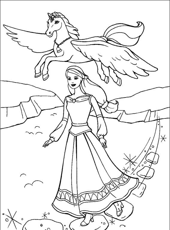 Barbie And The Magic Of Pegasus Coloring Page - Barbie Dolls cartoon ...
