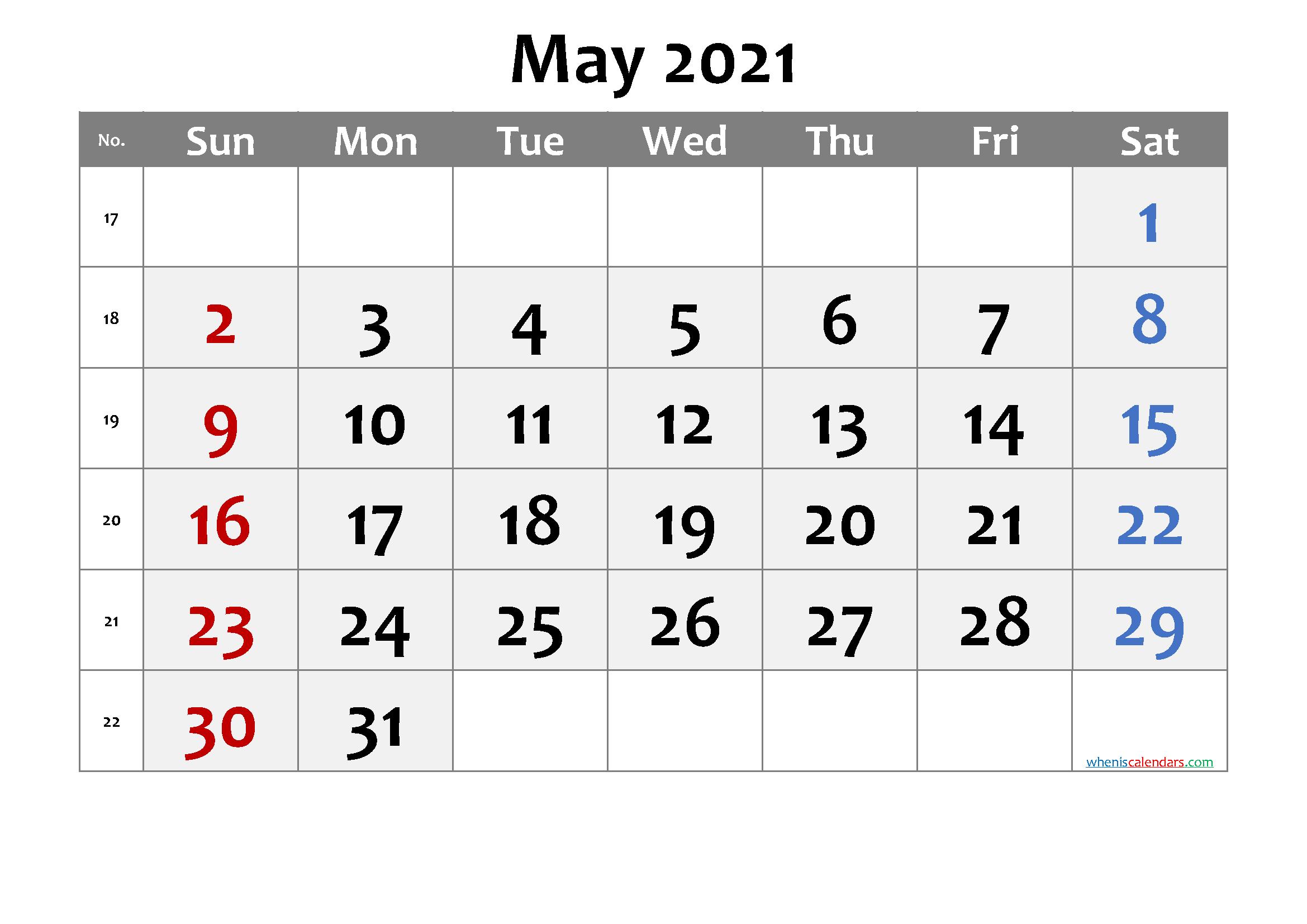 May 2021 Printable Calendar With Week Numbers Free Premium In 2020 Printable Calendar July Calendar Printables Printable Calendar