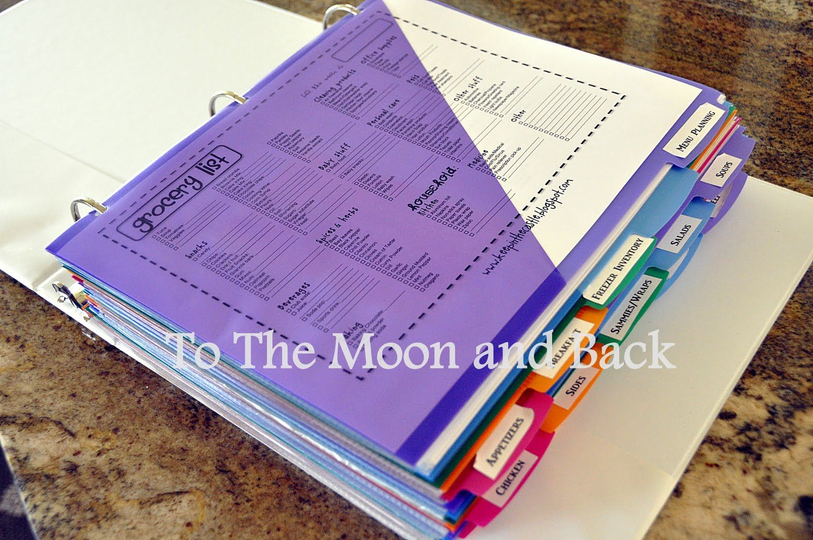 To The Moon And Back Organizing Recipe Binder Organize