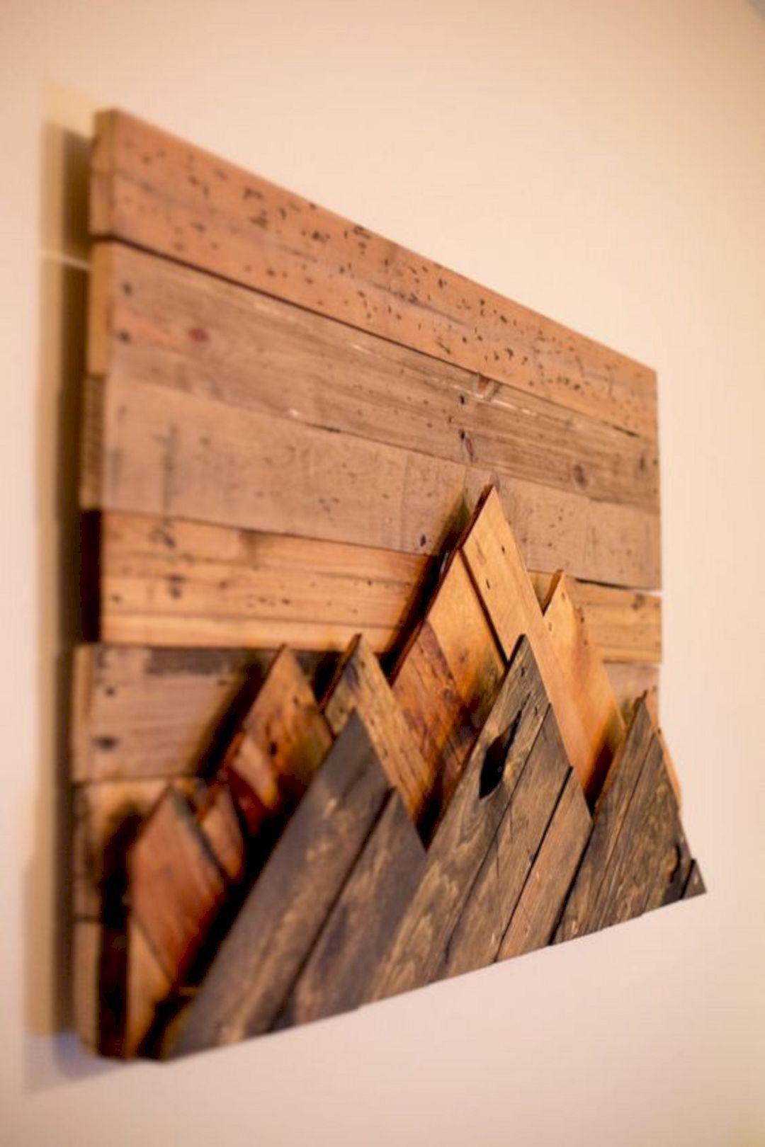 wood mountain wall art diy