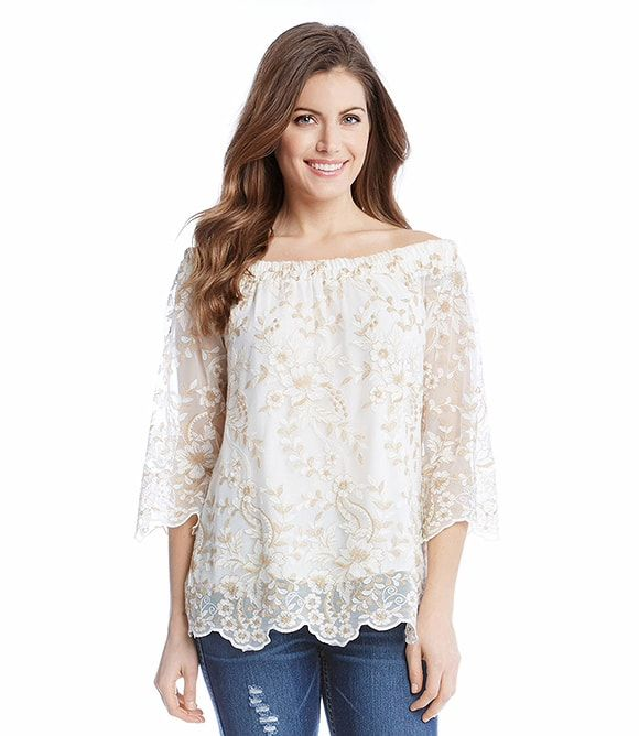 89017be7db4d2 Karen Kane Off The Shoulder Embroidery Top - - S