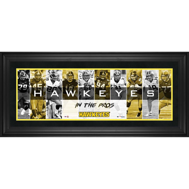 Iowa Hawkeyes Fanatics Authentic Framed 10 X 30 In The Pros Panoramic Collage Iowa Hawkeyes Hawkeyes Iowa