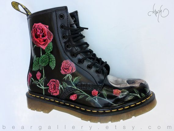 custom doc martens boots roses skulls hand painted available without skulls doc martens. Black Bedroom Furniture Sets. Home Design Ideas