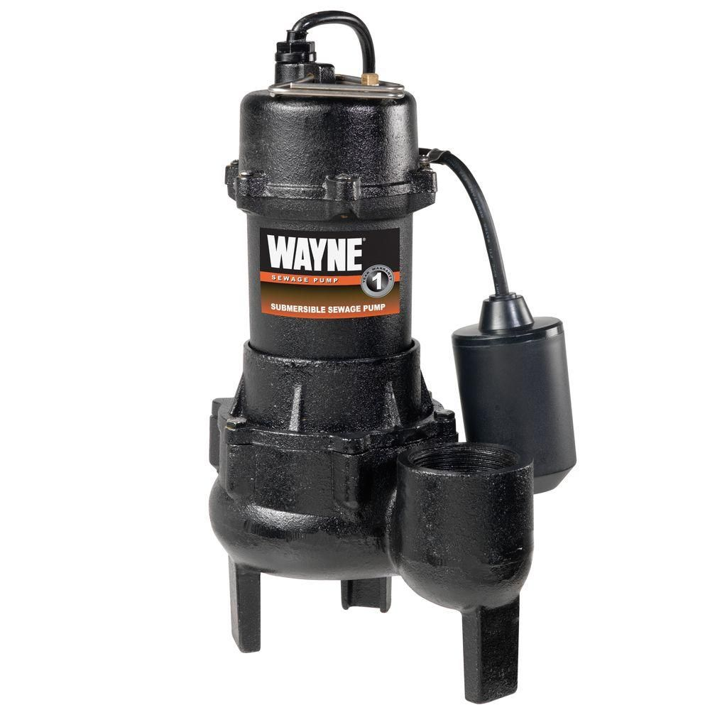 Wayne 1 2 Hp Cast Iron Sewage Pump With Tether Float Switch