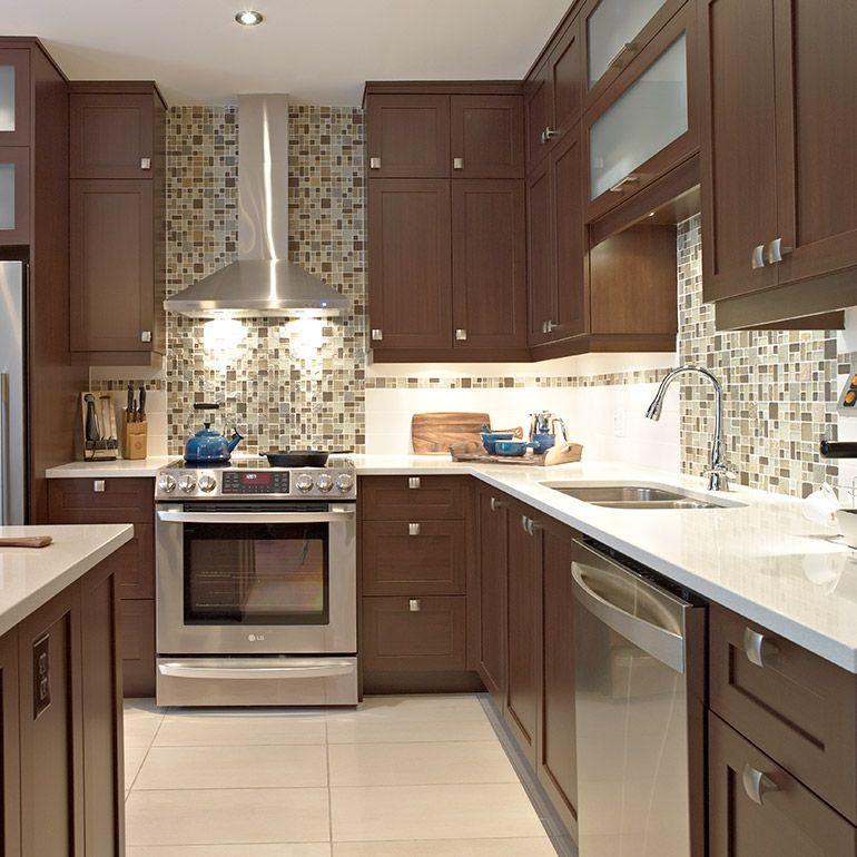 Cuisine contemporaine avec porte shaker en m lamine polyester acheter kitchen cabinets - Porte de cuisine vitree ...