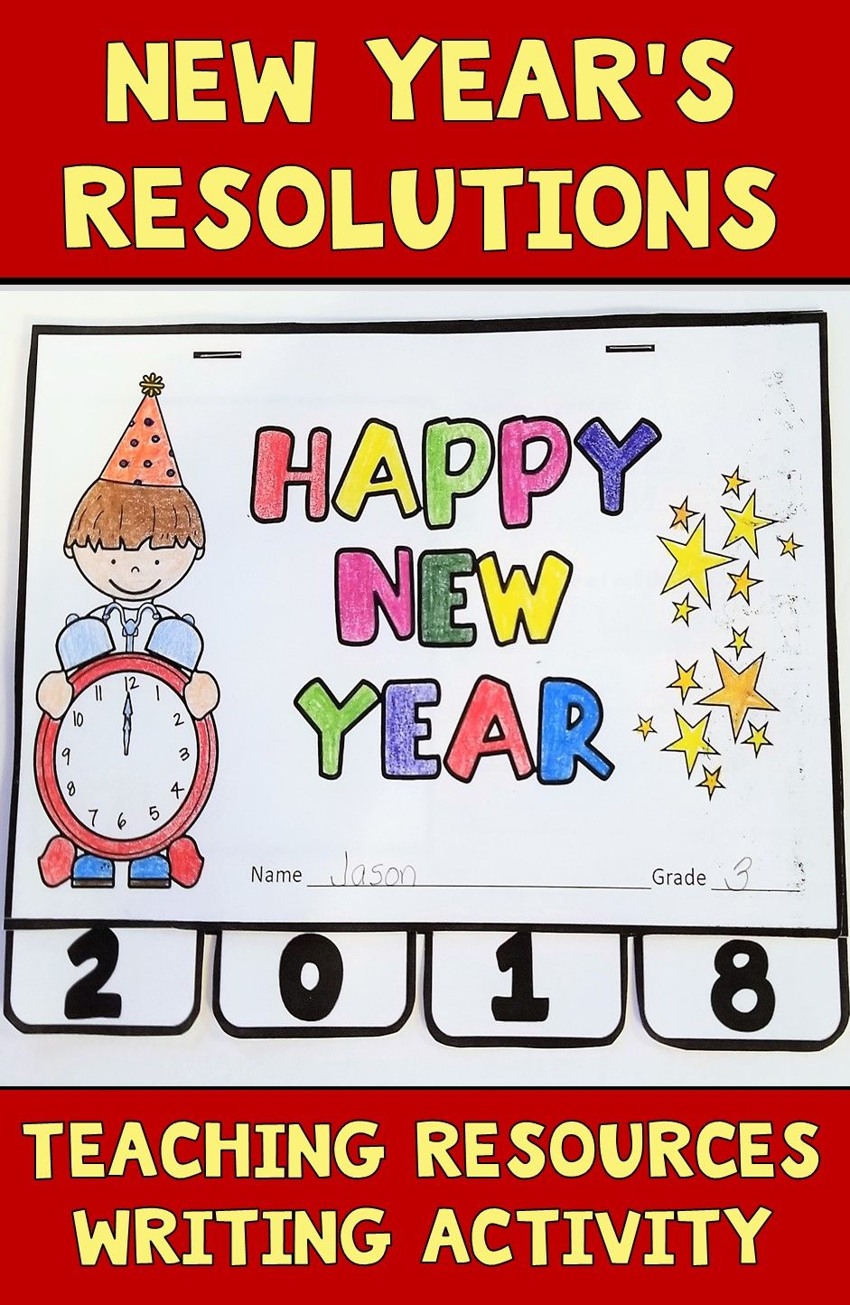 New Year\'s Resolutions 2018 Teaching Resources Tab Book for Writing
