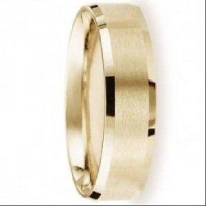Designer 6 mm Beveled Edge Satin Finish fort fit 14K Yellow Gold