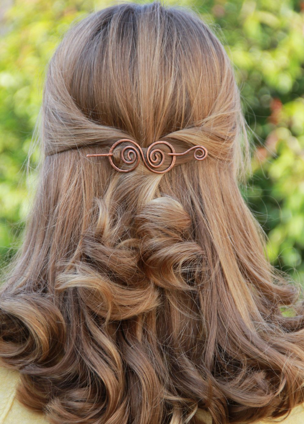 hair barrette, copper, hair bow, spiral, hair clip. wire