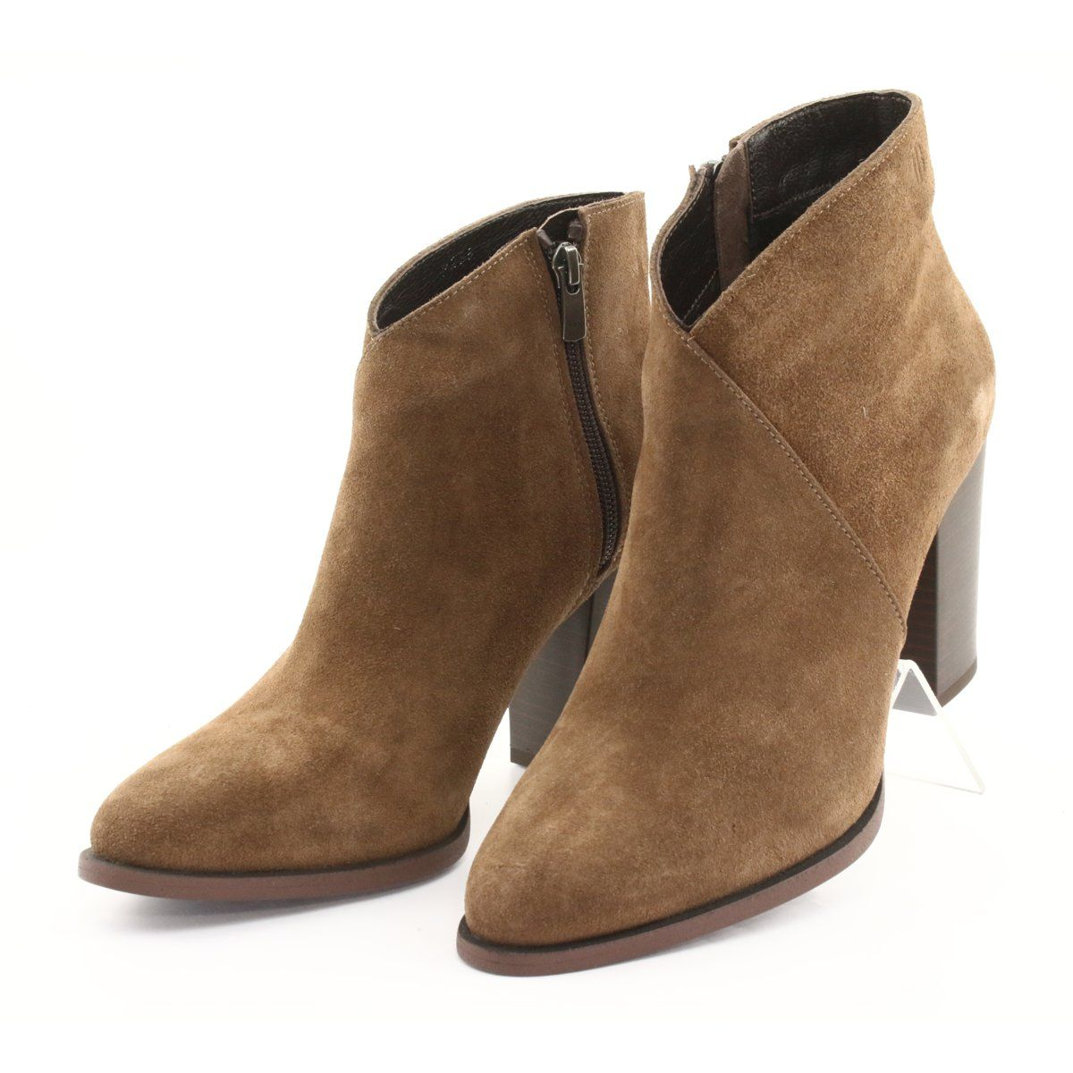 Badura Zamszowe Botki Na Slupku Brazowe Ankle Boot Shoes Boots