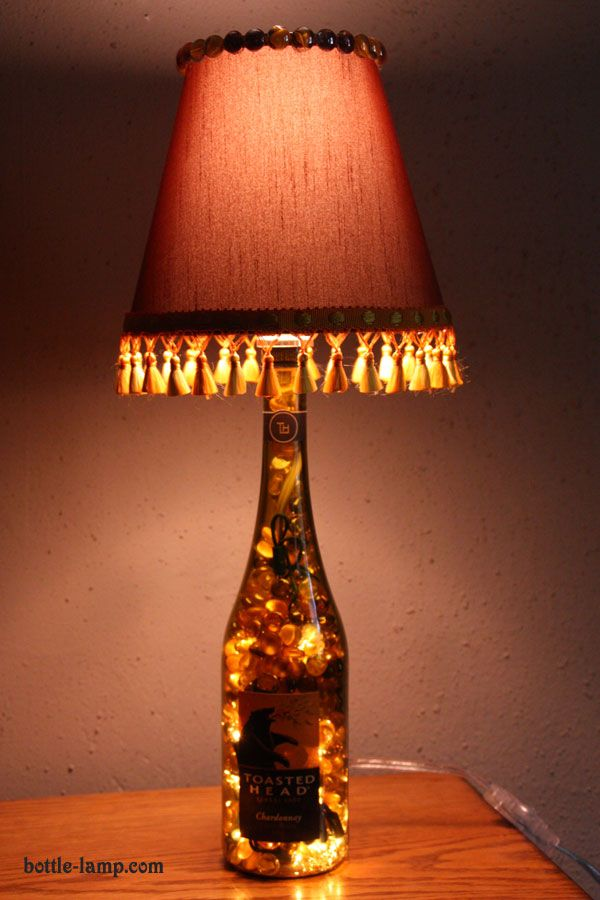 Recycled diy bottle lamps diy bottle bottle and craft for How to make wine bottle lights