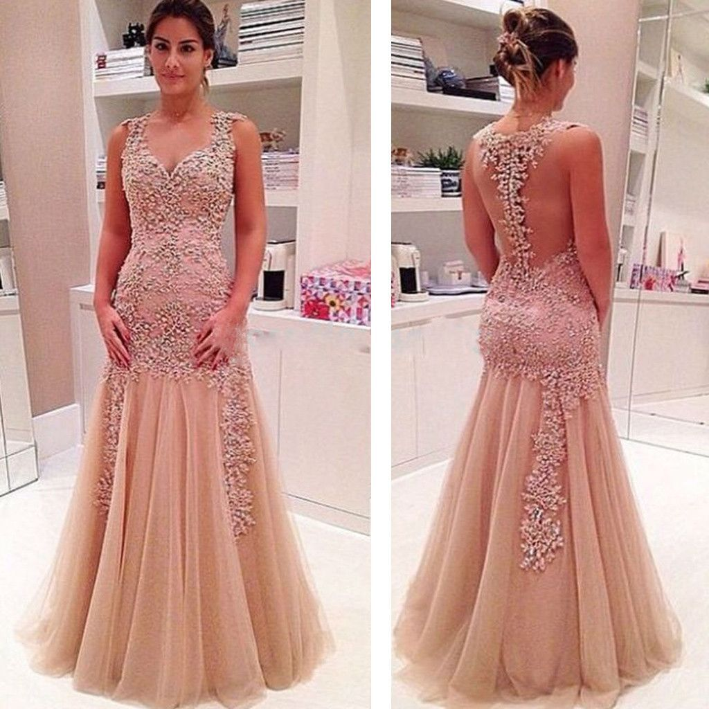 Vintage lace see through mermaid charming with appliques long prom