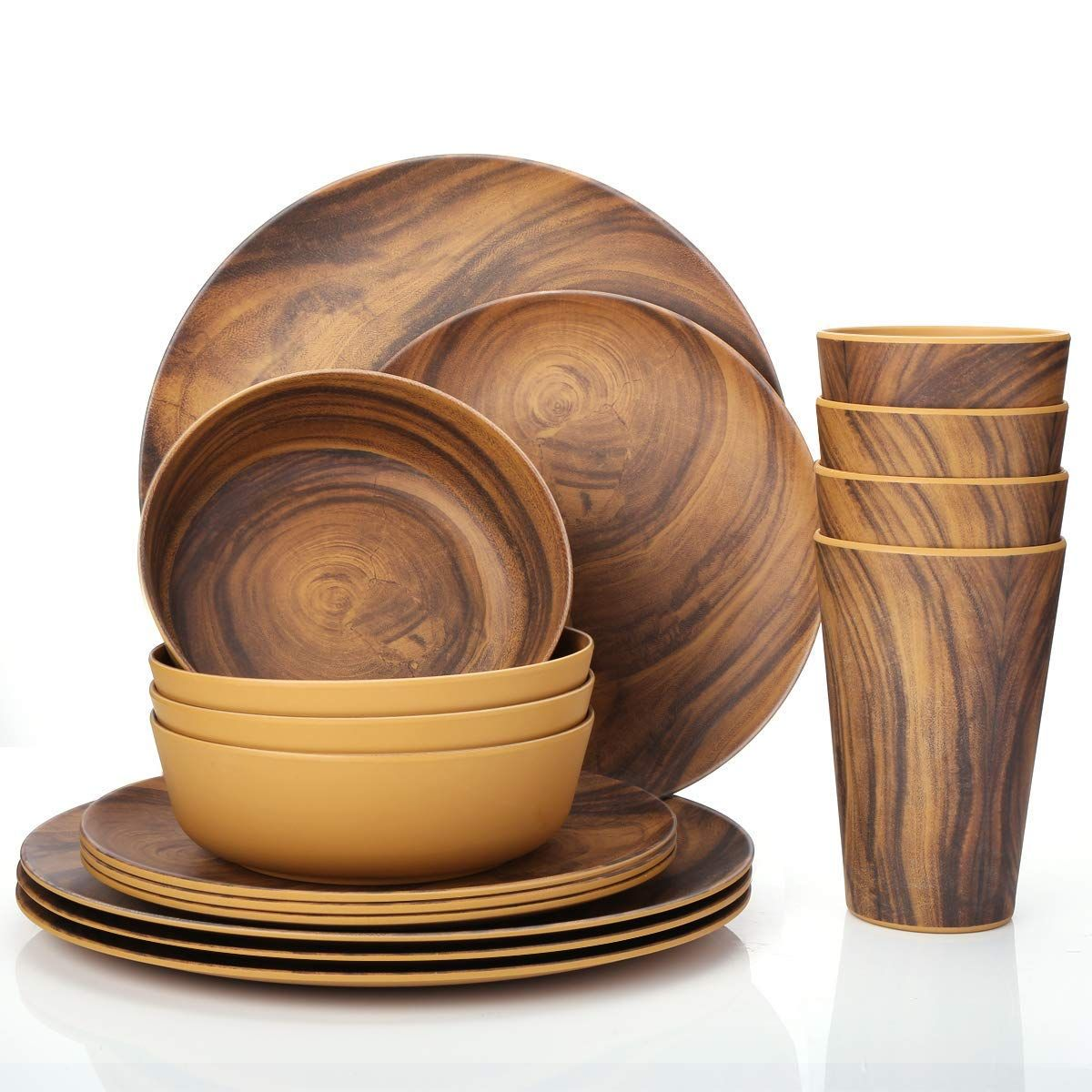 Wood Pattern Nordic Style Bamboo Fiber Food Plates High Quality Dinnerware Set For Camping And House Buy Bamboo Bamboo Tableware Dinnerware Set Bamboo Dishes