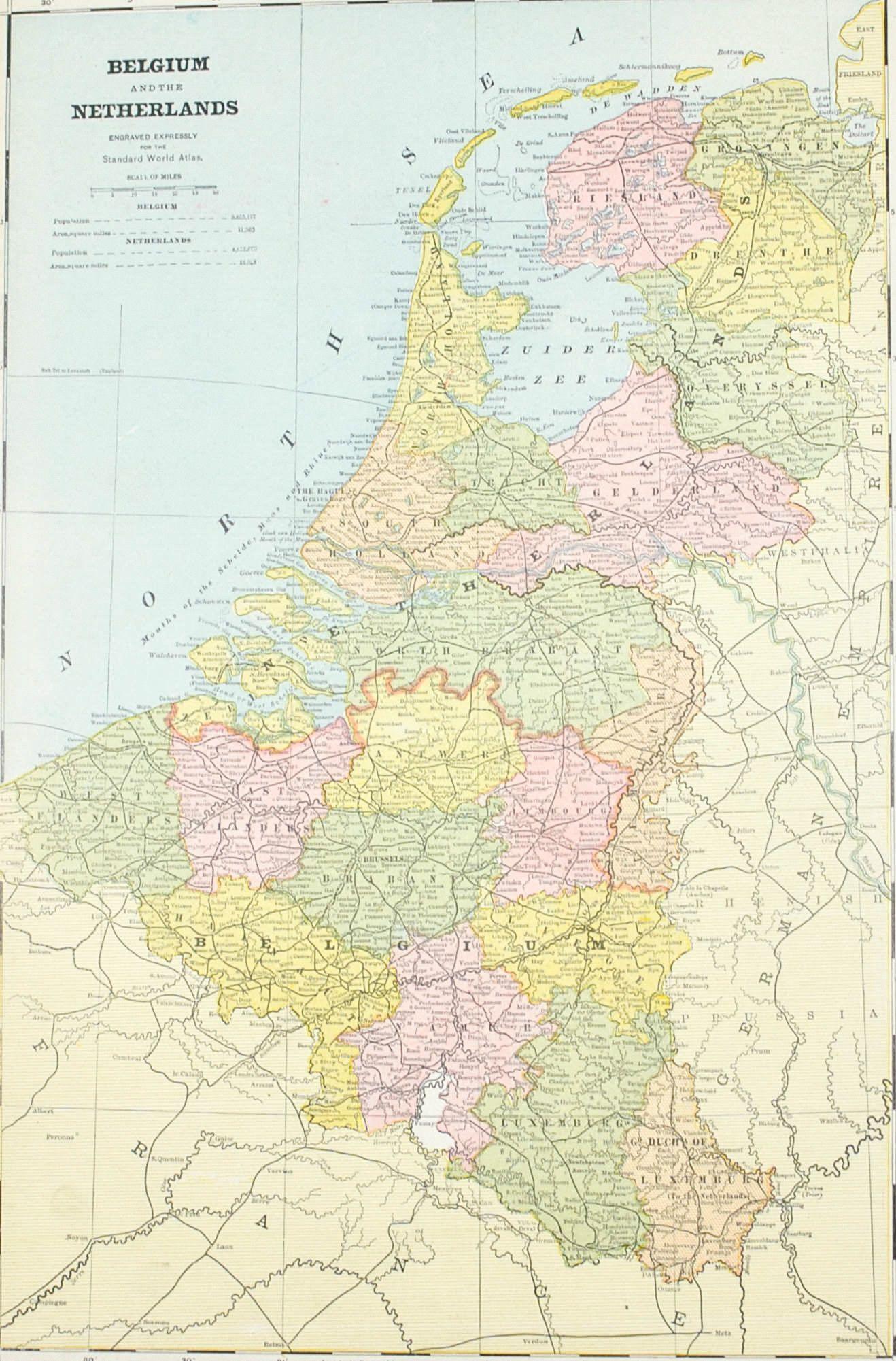 sweden norway belgium netherlands antique map 1887