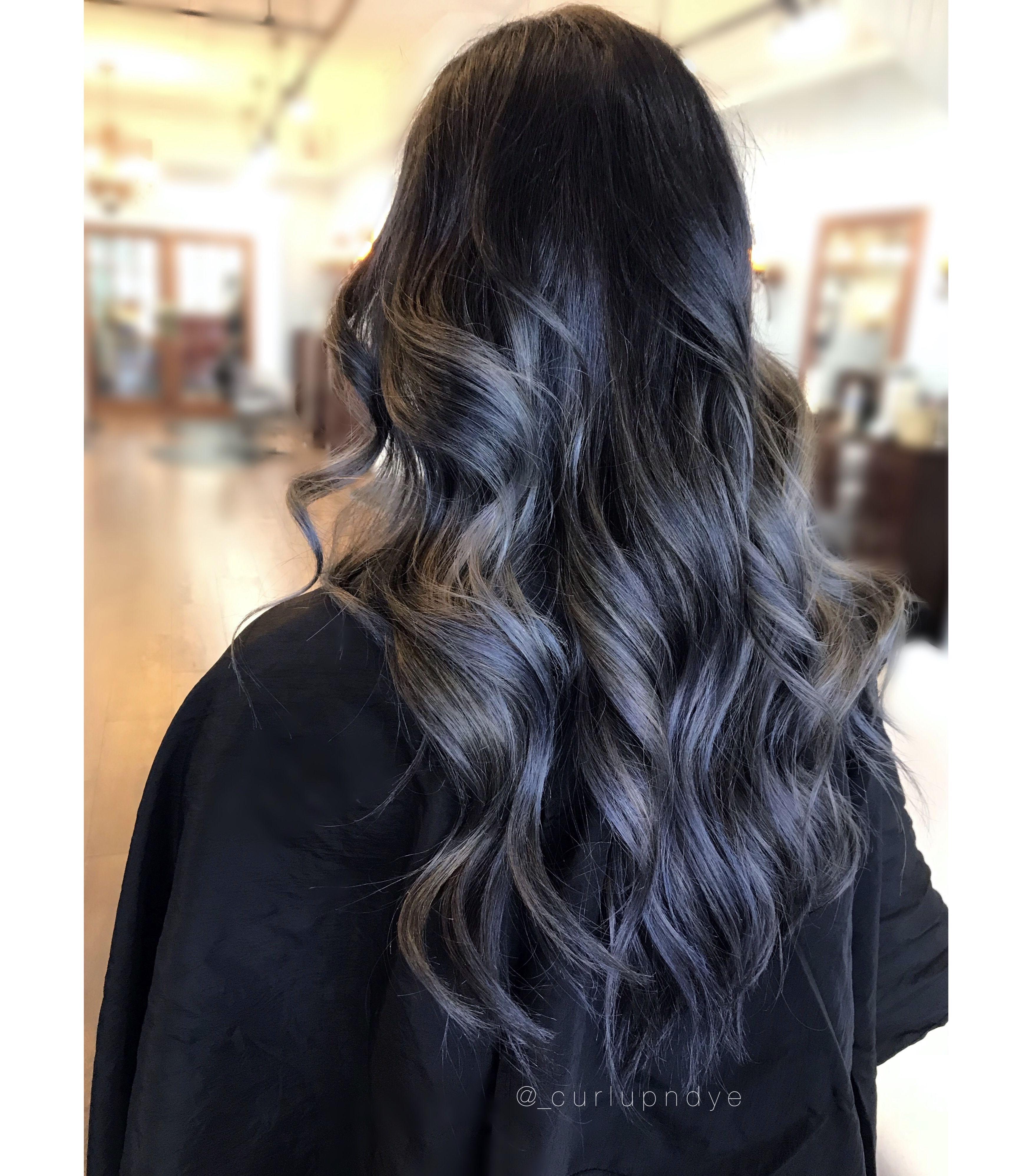 Blackhair Bluehair Balayage Longhair Wavyhair Hair Styles Black Balayage Long Hair Styles