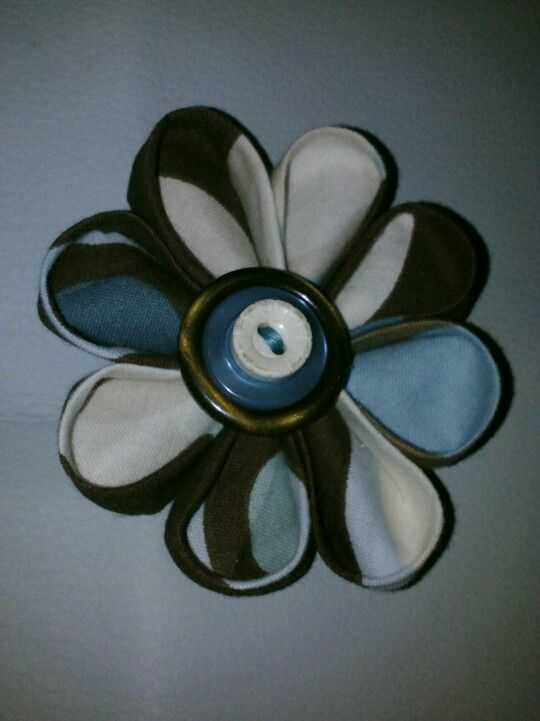 Kanzashi flower, made with scraps and vintage buttons.