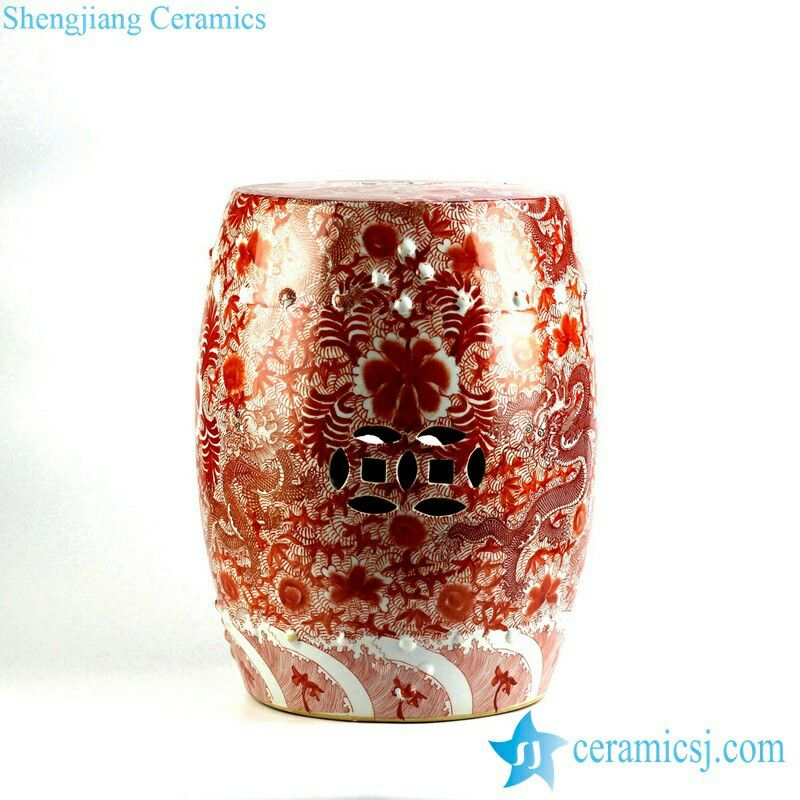 Scarlet Red Famille Rose Hand Paint Chinese Dragon Pattern Ceramic Patio  Stool