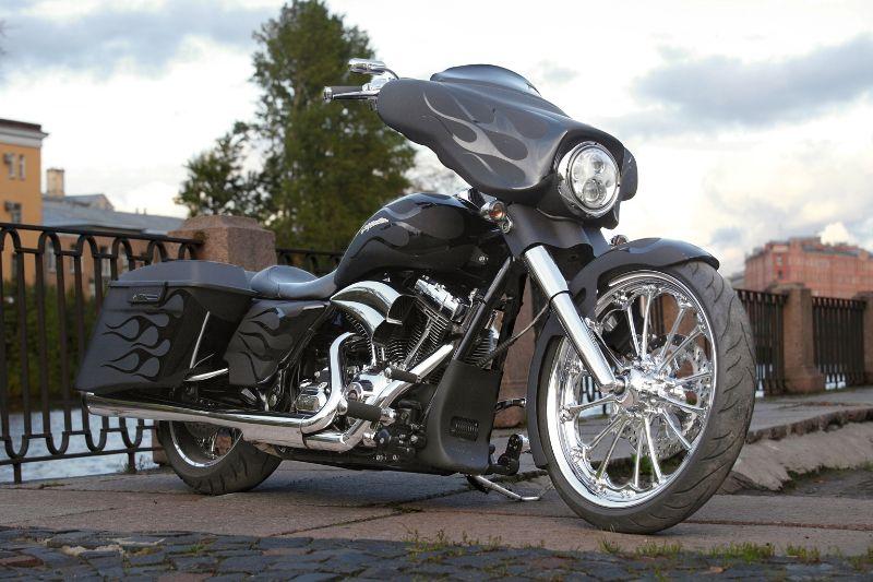 matte black with shiny black flames Custom harleys