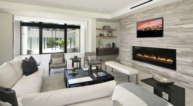 Wohnzimmer Stilvoll Einrichten Weißes Sofa Natursteinwand