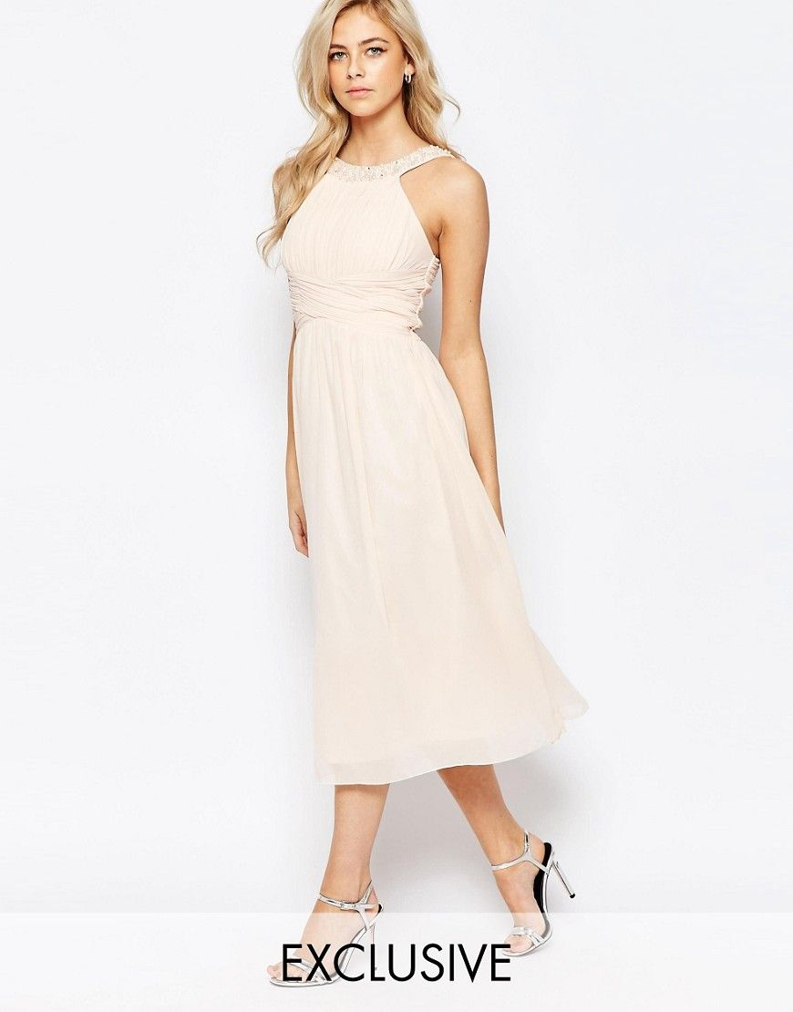 WALLIS BLACK NUDE SPOTTED V NECK DRESS - Chain Reaxtion