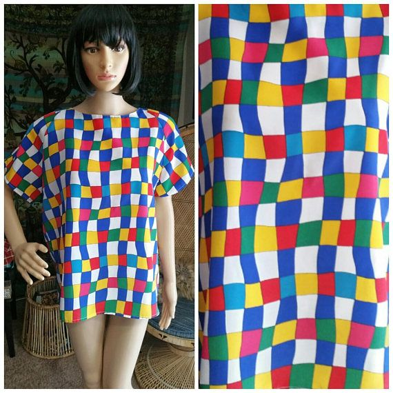 59bb6cbc2 80's Checker Top by Impression of California, Short Sleeve Shirt, Checker  Pattern Primary Color Top, Funky Top, 80's Short Sleeve Shirt, LG