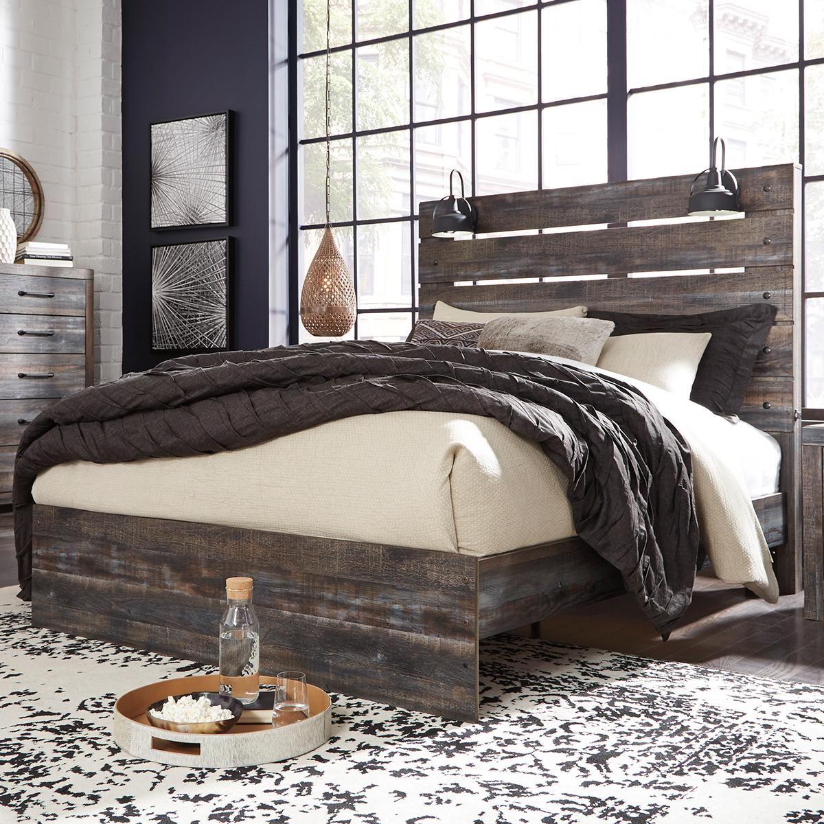 Drystan Queen Panel Bed in Burnt Orange and Teal