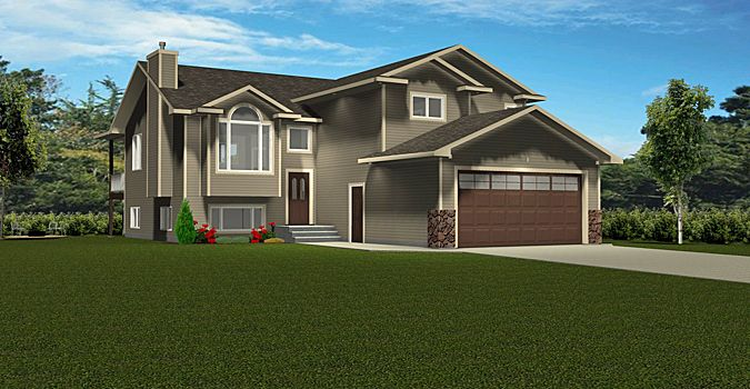 Plan 2008401 1496 Sq Ft Modified Bi Level Plan With Large L Shaped Kitchen Vaulted Ceilings 3 Bedrooms With Master Bedroom Over The Large Bi Level Homes Split Level House Plans House Plans
