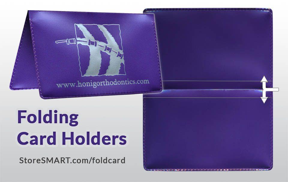 Folding card holder with custom printing one side