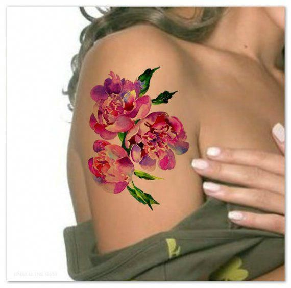 Temporary Tattoo Peony Watercolor Flower Ultra Thin Realistic Large Waterproof Fake Tattoos