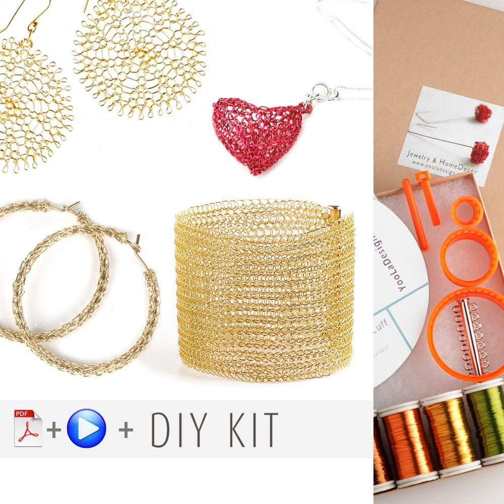 Wire crochet starter kit , video tutorials , supply and tools ...