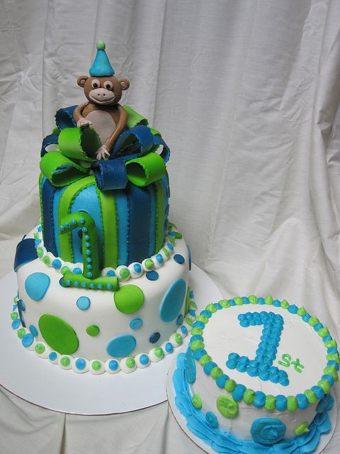First Birthday Boy Cake With Lime Green Light Blue And Dark Polka Dots Present Second Tier Bow Little Monkey On Top