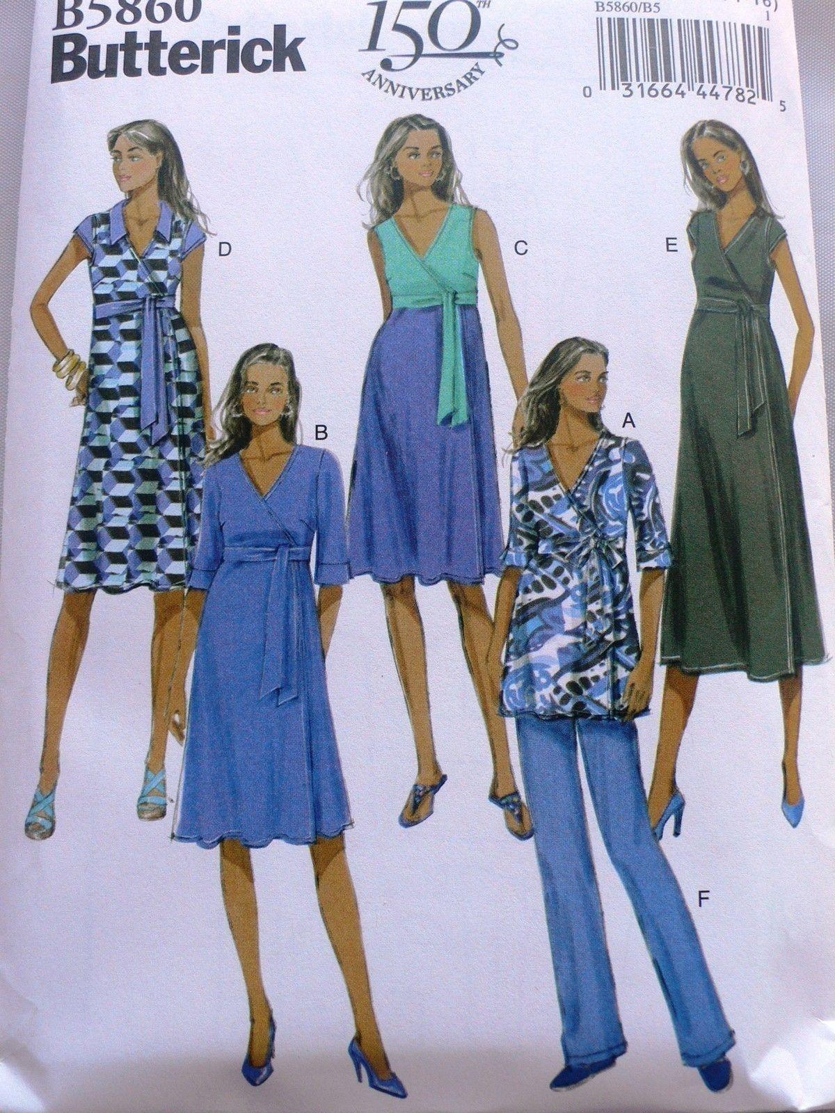 Butterick 5860 miss women maternity wrap dress top pants pattern butterick 5860 miss women maternity wrap dress top pants pattern plus size 16 24 jeuxipadfo Choice Image