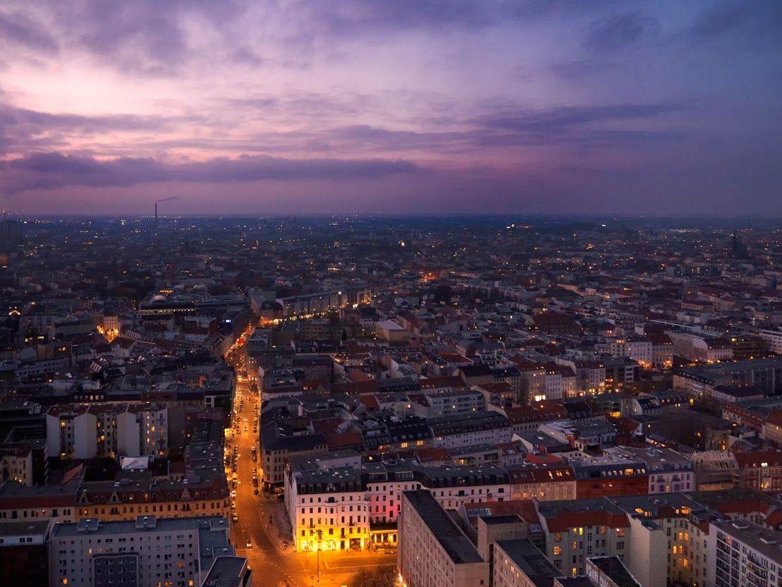 Berlin from top on a slightly hazy night.