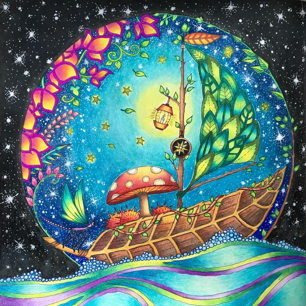 Enchanted forest coloring book website - Leaf Boat Page From Enchanted Forest Coloring Book Using Mostly Prismacolor Pencils And A White Gelly Roll Gel Pen