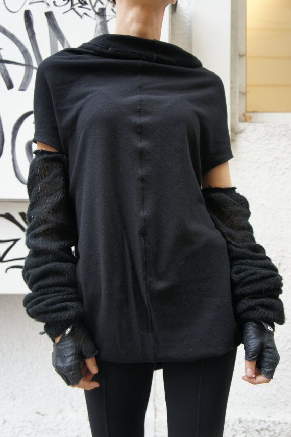 Be Unpredictable....Fashion....Sophisticated... Gorgeous Black Knit Tunic Top / Loose Long Blouse / Casual Dress call it Addicted Both being perfect for everyday wear or being sexy and fashion in a party... Soft. knitted cotton fabric gives You all the freedom You need.... Wear it as a dress