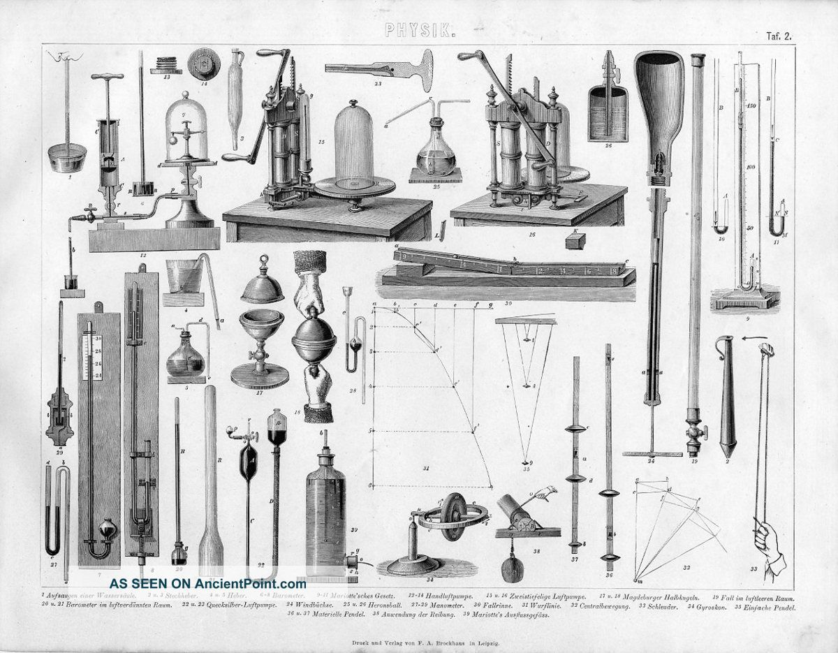 Vintage Physics Instrument Science Antique Engraving