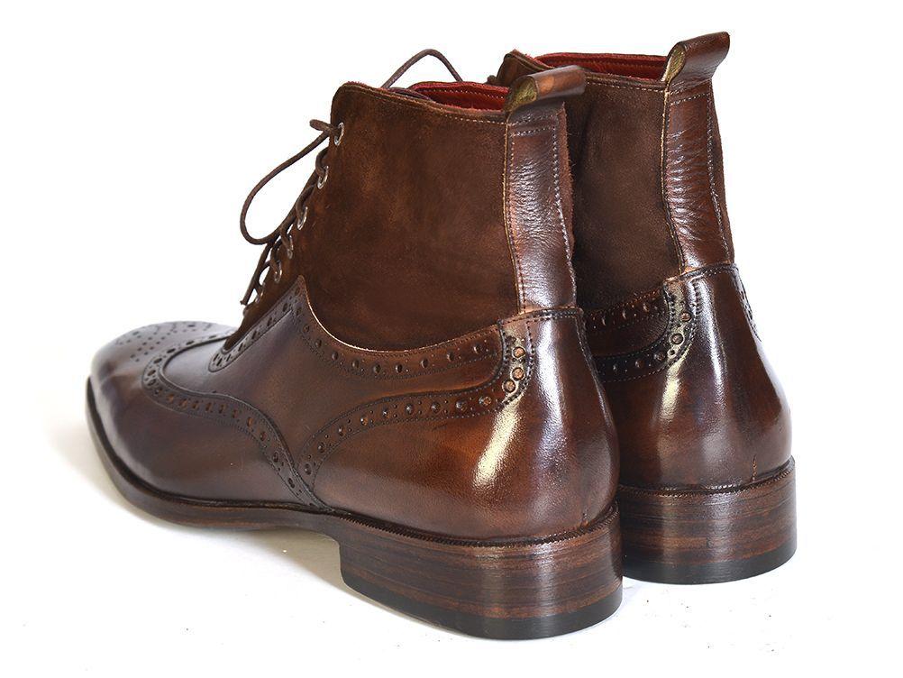 PAUL PARKMAN ® The Art of Handcrafted Men's Footwear - Paul Parkman Men's Wingtip Boots Brown Suede & Calfskin (ID#991-BRW)