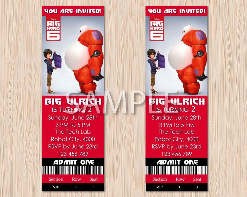 Disney Big Hero 6 Baymax & Hiro Red Birthday Party Invitation Invite ...
