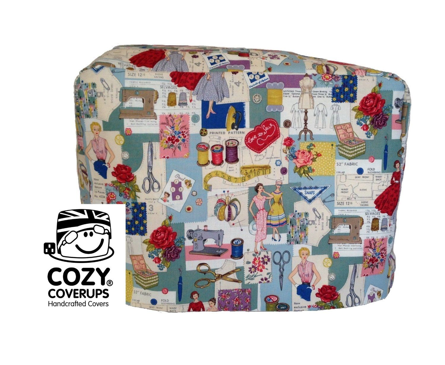Amazon.com: Handmade Sewing Machine CozyCoverUp Dust Cover in 50\'s ...
